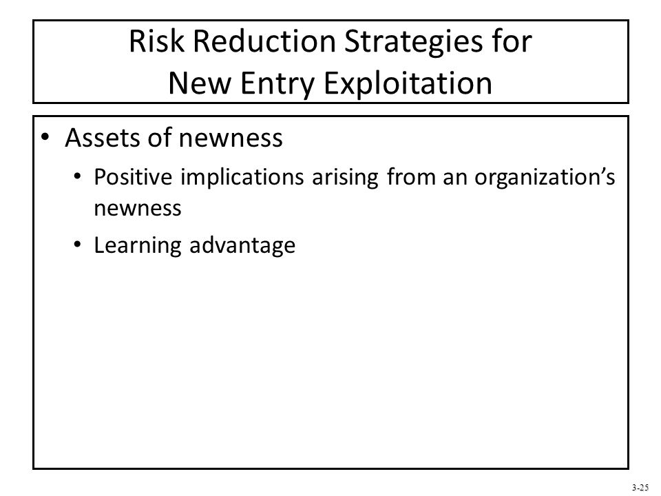 3-25 Risk Reduction Strategies for New Entry Exploitation Assets of newness Positive implications arising from an organization's newness Learning adva