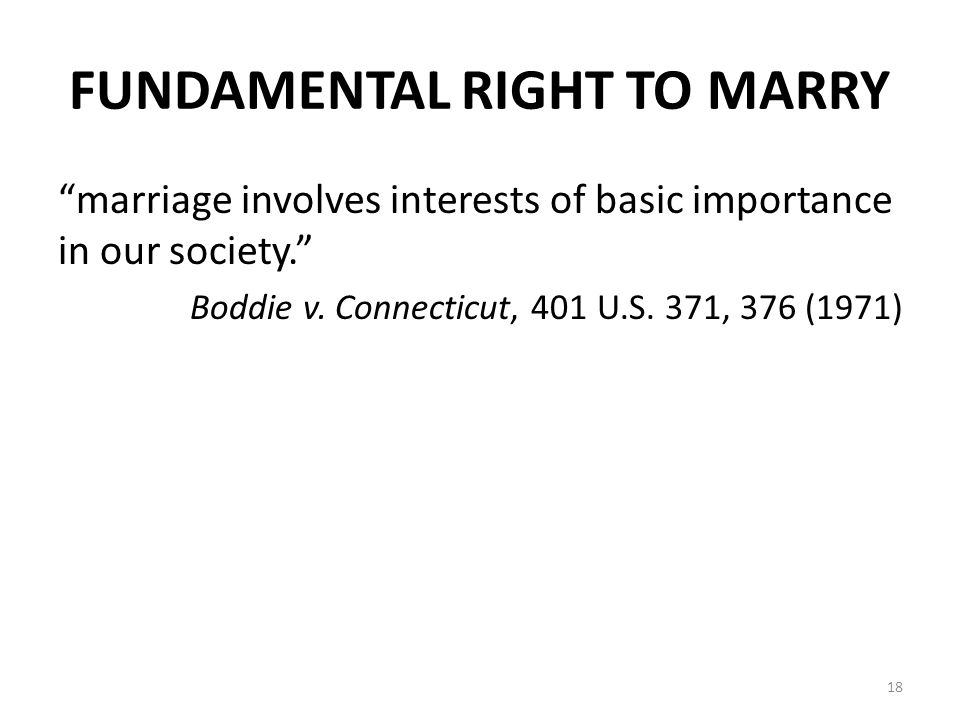 FUNDAMENTAL RIGHT TO MARRY marriage involves interests of basic importance in our society. Boddie v.