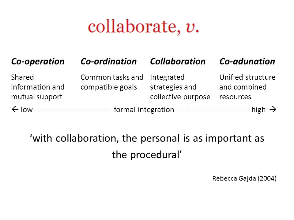 '… the context specificity of collaborative practice creates difficulties for developing more generalized understandings across and within different disciplinary contexts' Mark Elliot, in Lorraine Walsh and Peter Kahn (2010) '… collaborations in higher education are … inherently open in their scope to realize unanticipated outcomes beyond that which was originally envisaged…' Walsh and Kahn