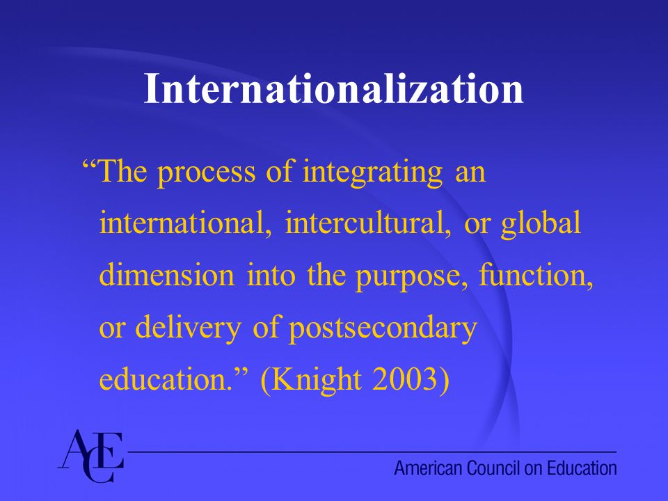Elements of Internationalization (inputs) Campus culture Academic opportunities Co-curriculum International partnerships Funding Supporting structures and policies International Students Synergy among the elements