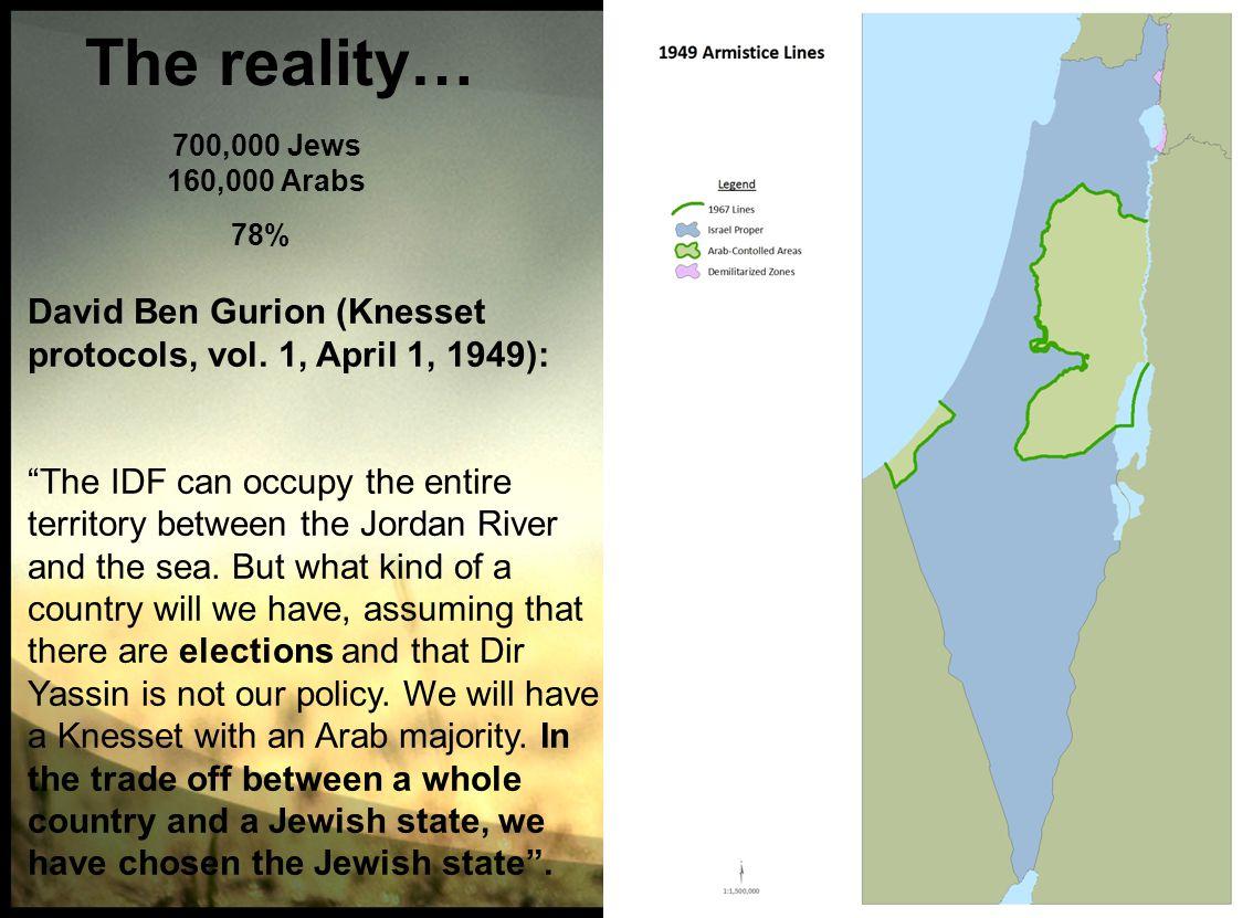 700,000 Jews 160,000 Arabs The reality… 78% David Ben Gurion (Knesset protocols, vol.