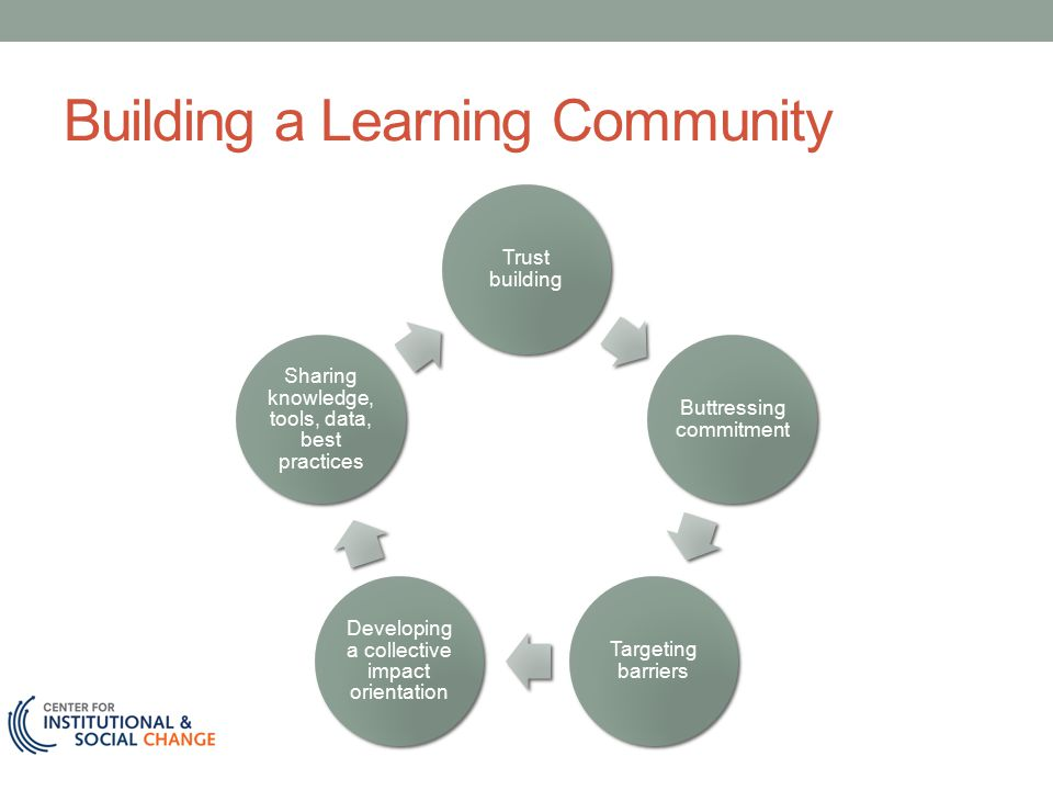 Building a Learning Community Trust building Buttressing commitment Targeting barriers Developing a collective impact orientation Sharing knowledge, tools, data, best practices