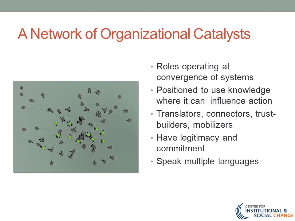 A Network of Organizational Catalysts Roles operating at convergence of systems Positioned to use knowledge where it can influence action Translators, connectors, trust- builders, mobilizers Have legitimacy and commitment Speak multiple languages