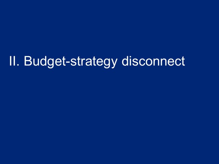II. Budget-strategy disconnect