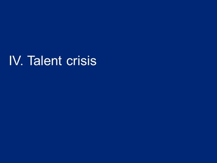 IV. Talent crisis