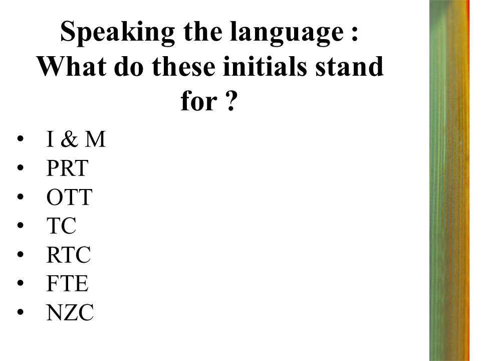 Speaking the language : What do these initials stand for ? I & M PRT OTT TC RTC FTE NZC