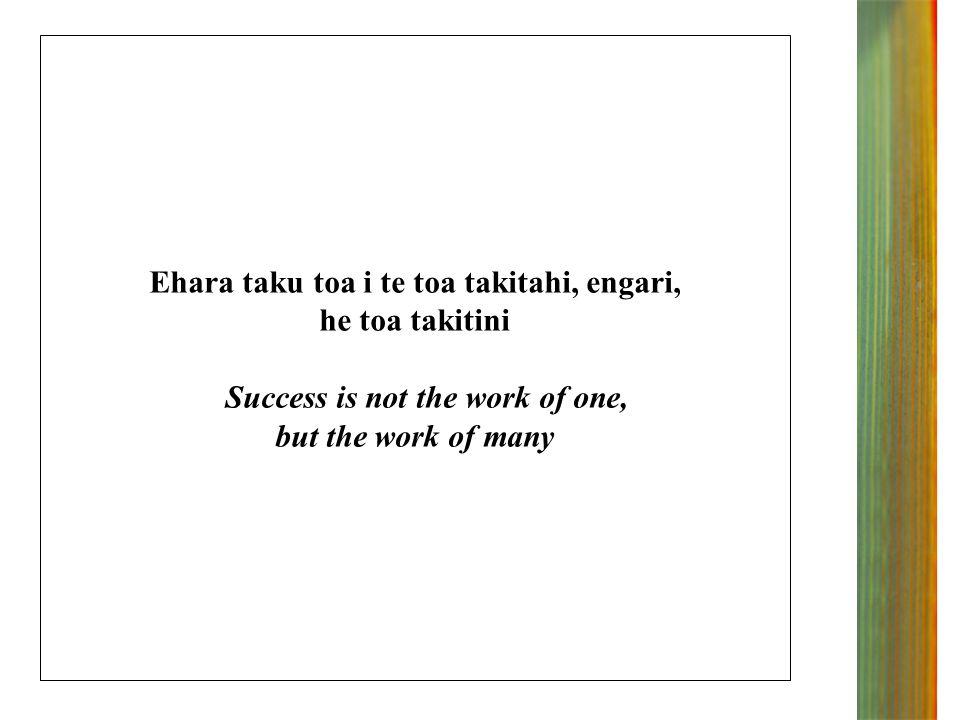 Ehara taku toa i te toa takitahi, engari, he toa takitini Success is not the work of one, but the work of many