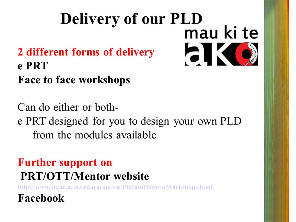 Delivery of our PLD 2 different forms of delivery e PRT Face to face workshops Can do either or both- e PRT designed for you to design your own PLD from the modules available Further support on PRT/OTT/Mentor website http://www.otago.ac.nz/education/ess/PRTandMentorWorkshops.html Facebook
