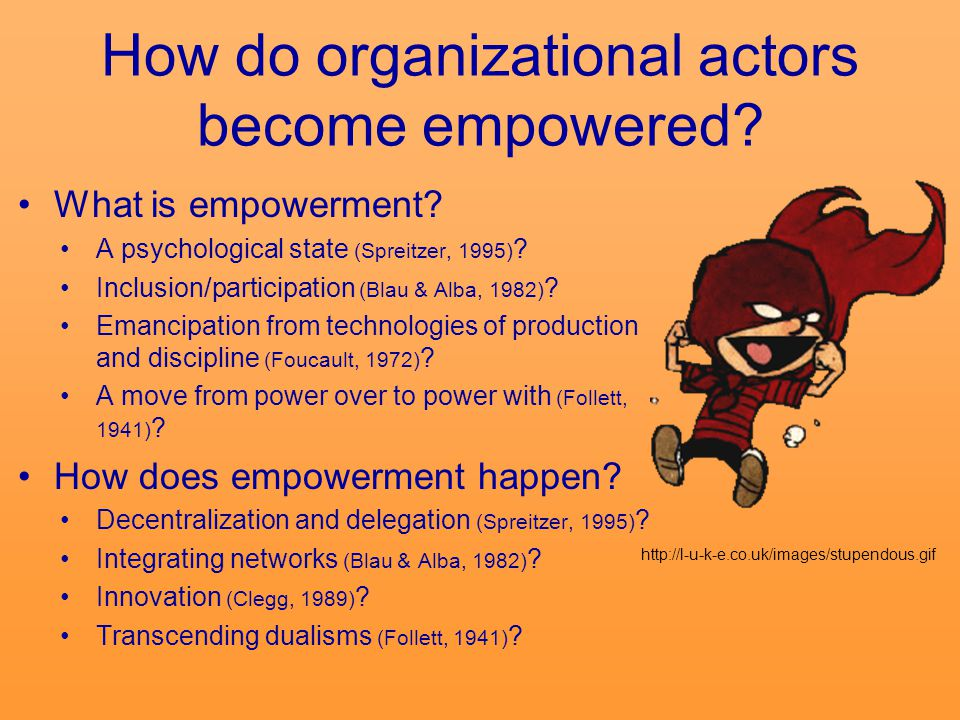 Conversational Empowerment A communicative process through which actors transform the organizational narratives they enact from narratives in which others exercise power over them to ones in which they exercise power over others, power with others, or the power to choose for themselves.