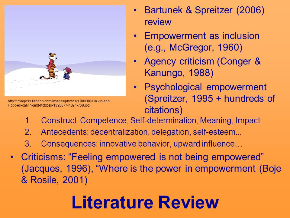 Literature Review Bartunek & Spreitzer (2006) review Empowerment as inclusion (e.g., McGregor, 1960) Agency criticism (Conger & Kanungo, 1988) Psychological empowerment (Spreitzer, 1995 + hundreds of citations) http://images1.fanpop.com/images/photos/1300000/Calvin-and- Hobbes-calvin-and-hobbes-1395577-1024-768.jpg 1.Construct: Competence, Self-determination, Meaning, Impact 2.Antecedents: decentralization, delegation, self-esteem...
