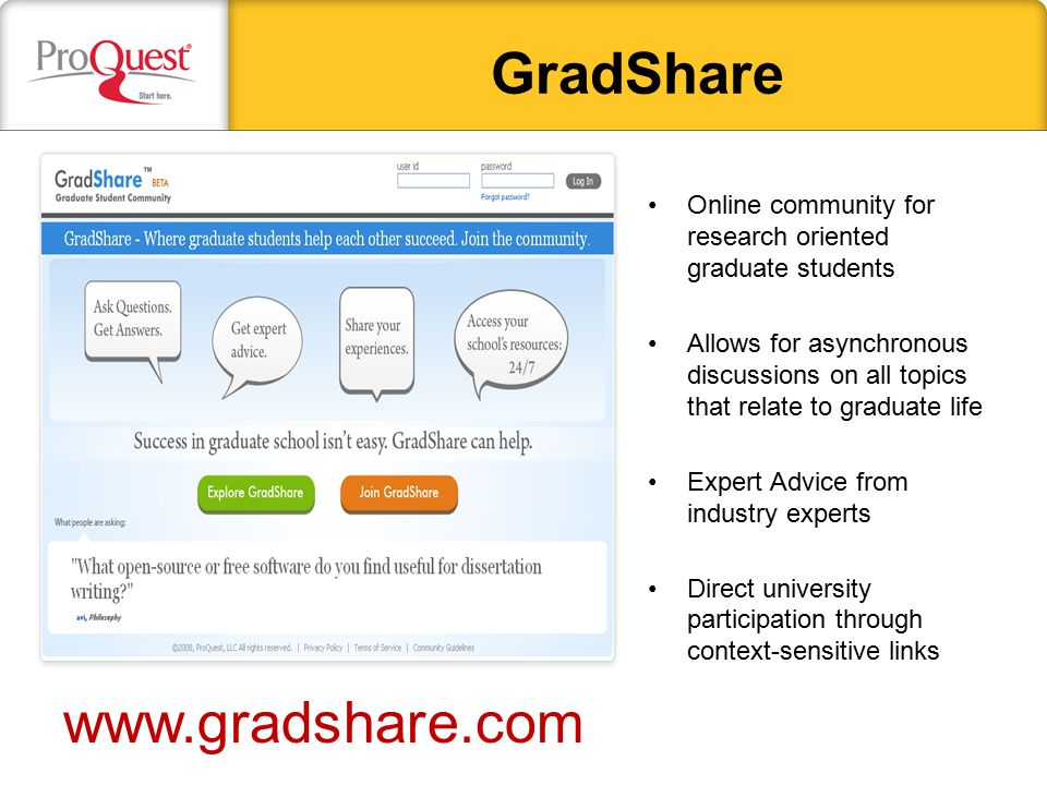 GradShare Online community for research oriented graduate students Allows for asynchronous discussions on all topics that relate to graduate life Expe