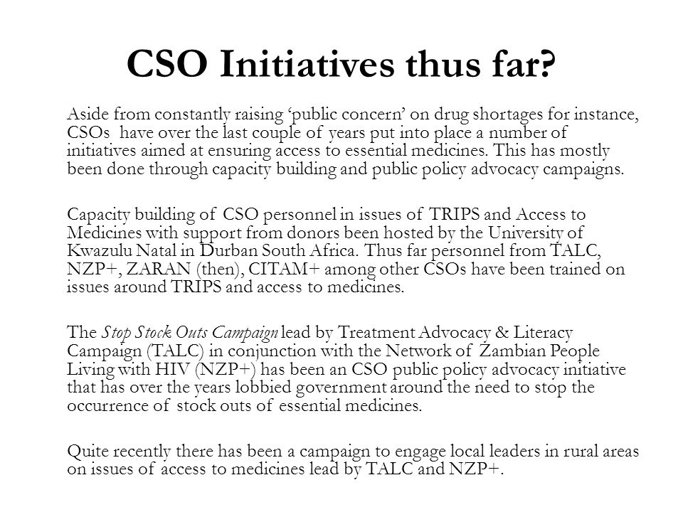 CSO Initiatives thus far.