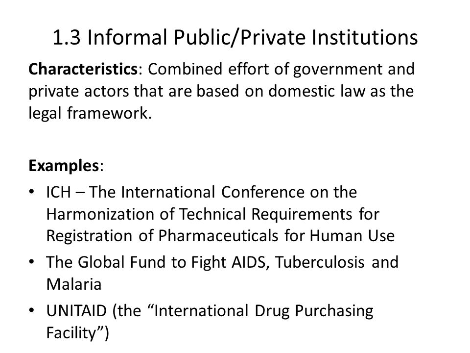 1.3 Informal Public/Private Institutions Characteristics: Combined effort of government and private actors that are based on domestic law as the legal framework.