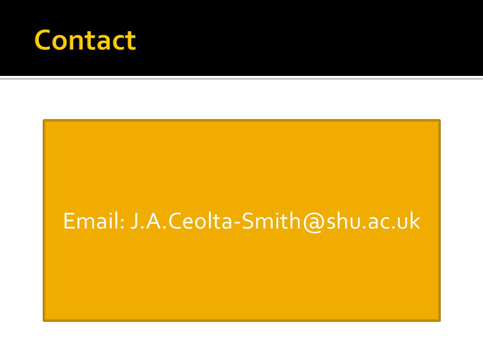 Email: J.A.Ceolta-Smith@shu.ac.uk