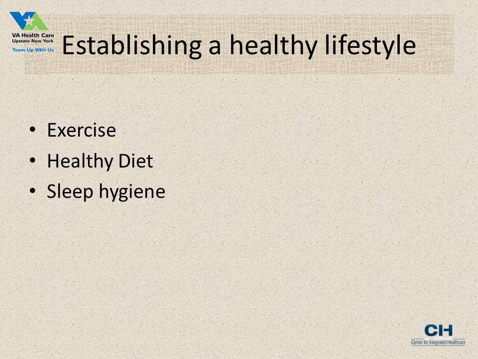 Establishing a healthy lifestyle Exercise Healthy Diet Sleep hygiene