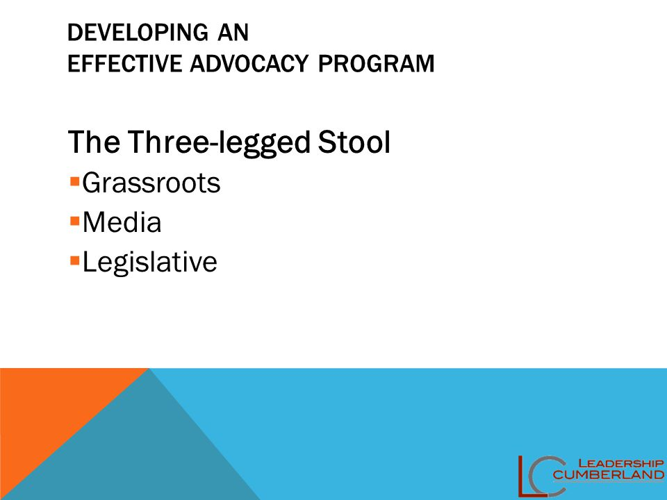 DEVELOPING AN EFFECTIVE ADVOCACY PROGRAM The Three-legged Stool  Grassroots  Media  Legislative