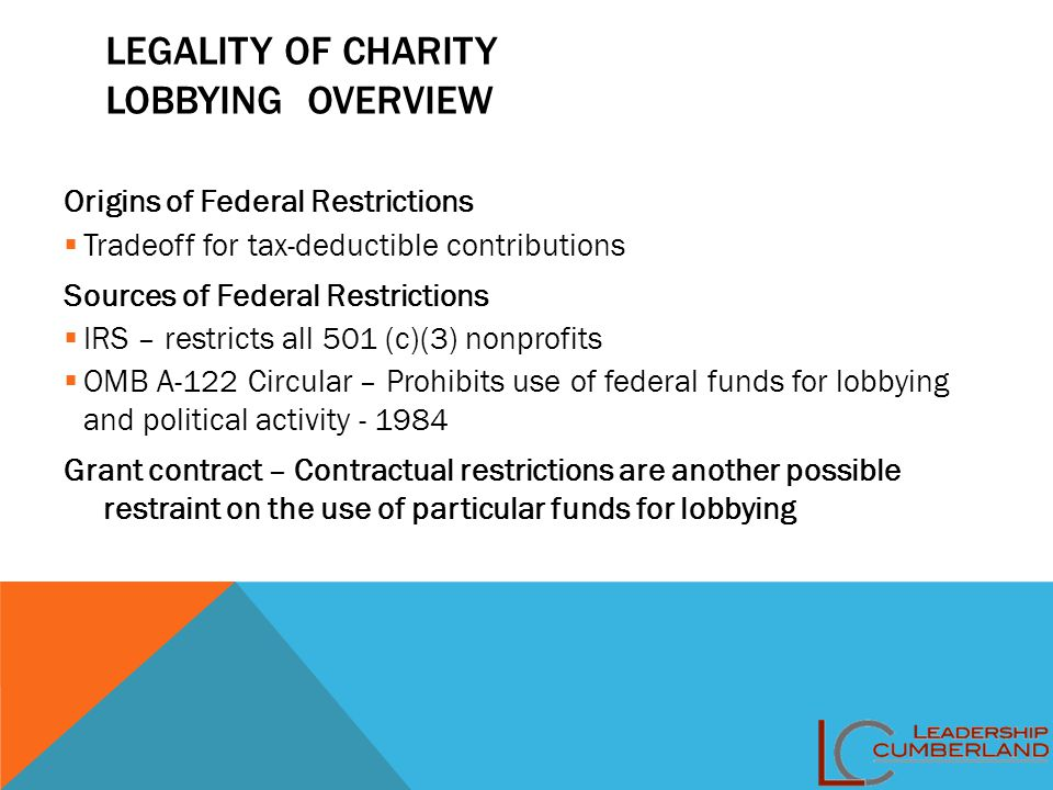 LEGALITY OF CHARITY LOBBYING OVERVIEW Origins of Federal Restrictions  Tradeoff for tax-deductible contributions Sources of Federal Restrictions  IR