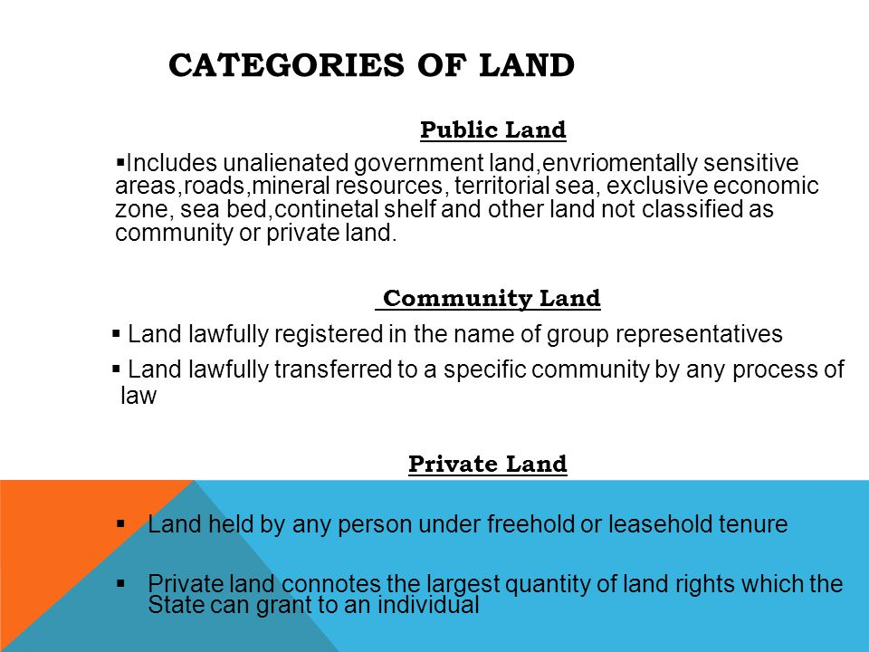 CATEGORIES OF LAND Public Land  Includes unalienated government land,envriomentally sensitive areas,roads,mineral resources, territorial sea, exclusi