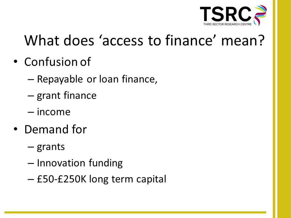 What does 'access to finance' mean.