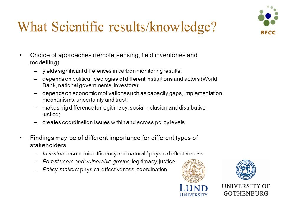 What Scientific results/knowledge.