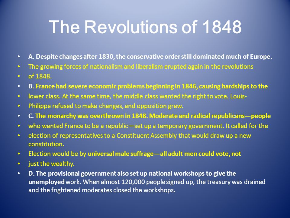 The Revolutions of 1848 A.