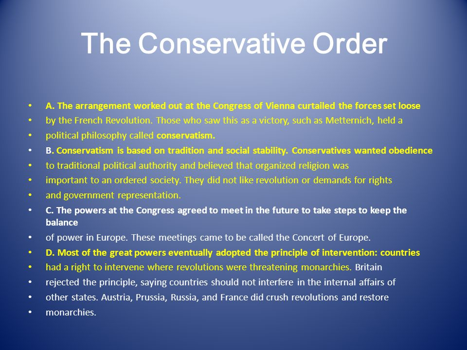 The Conservative Order A.