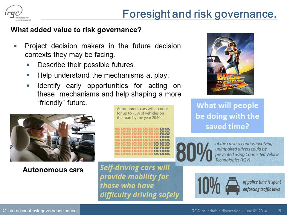 © international risk governance council IRGC roundtable discussion– June 6 th 2014 15 Foresight and risk governance.