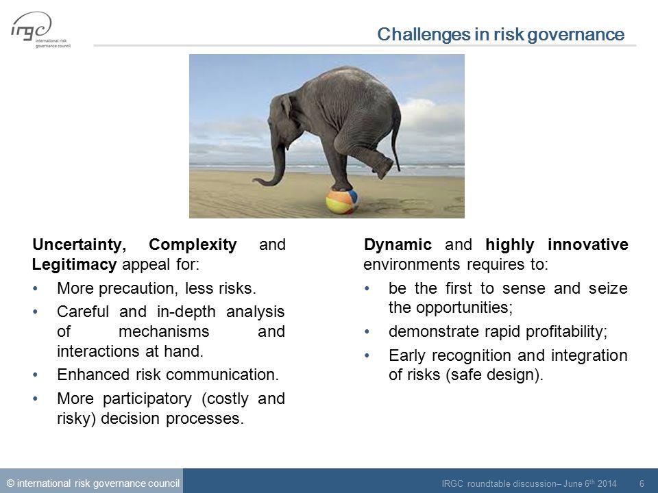 © international risk governance council IRGC roundtable discussion– June 6 th 2014 7 Challenges to risk governance Cerf.C; Navasky.V (1984).