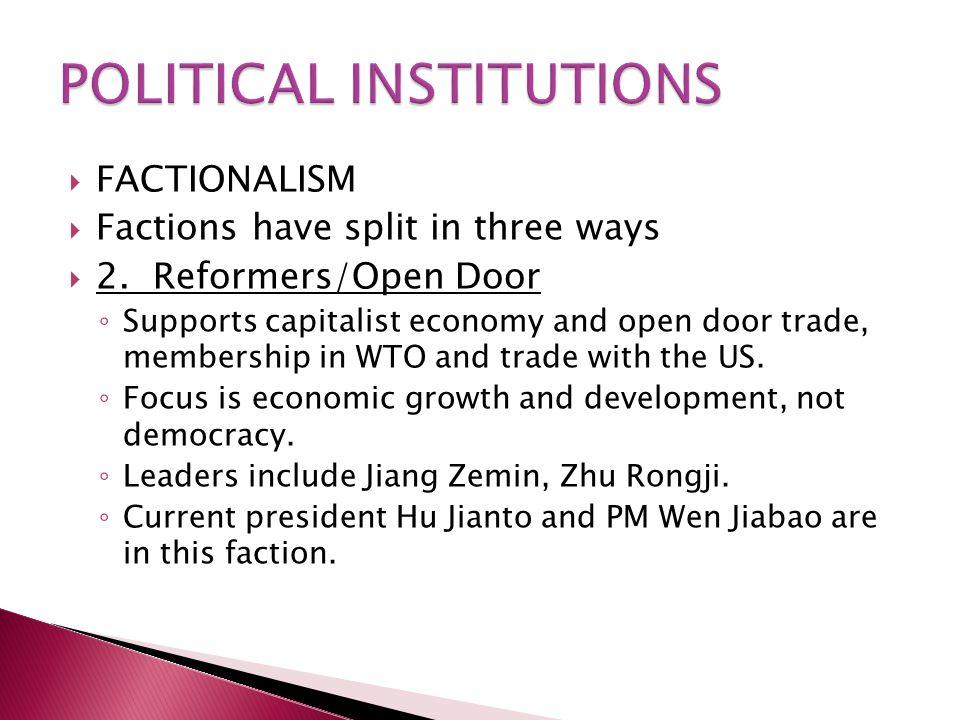  FACTIONALISM  Factions have split in three ways  2. Reformers/Open Door ◦ Supports capitalist economy and open door trade, membership in WTO and t