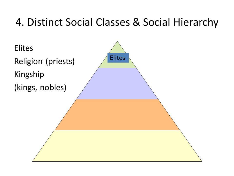 4. Distinct Social Classes & Social Hierarchy Elites Religion (priests) Kingship (kings, nobles) Elites