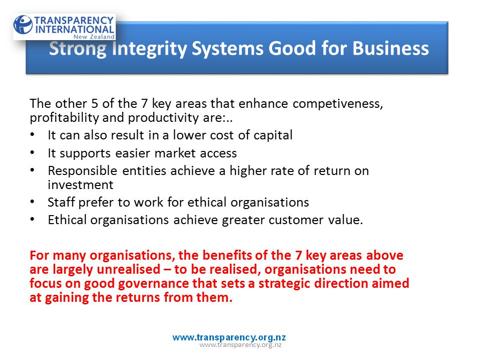 The other 5 of the 7 key areas that enhance competiveness, profitability and productivity are:..