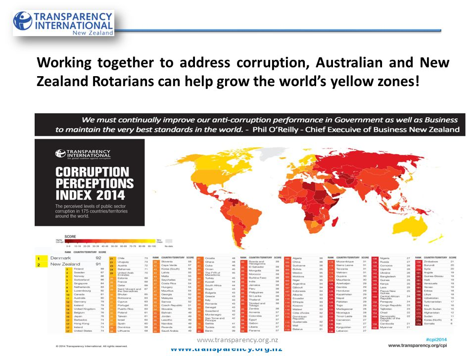 Working together to address corruption, Australian and New Zealand Rotarians can help grow the world's yellow zones! www.transparency.org.nz
