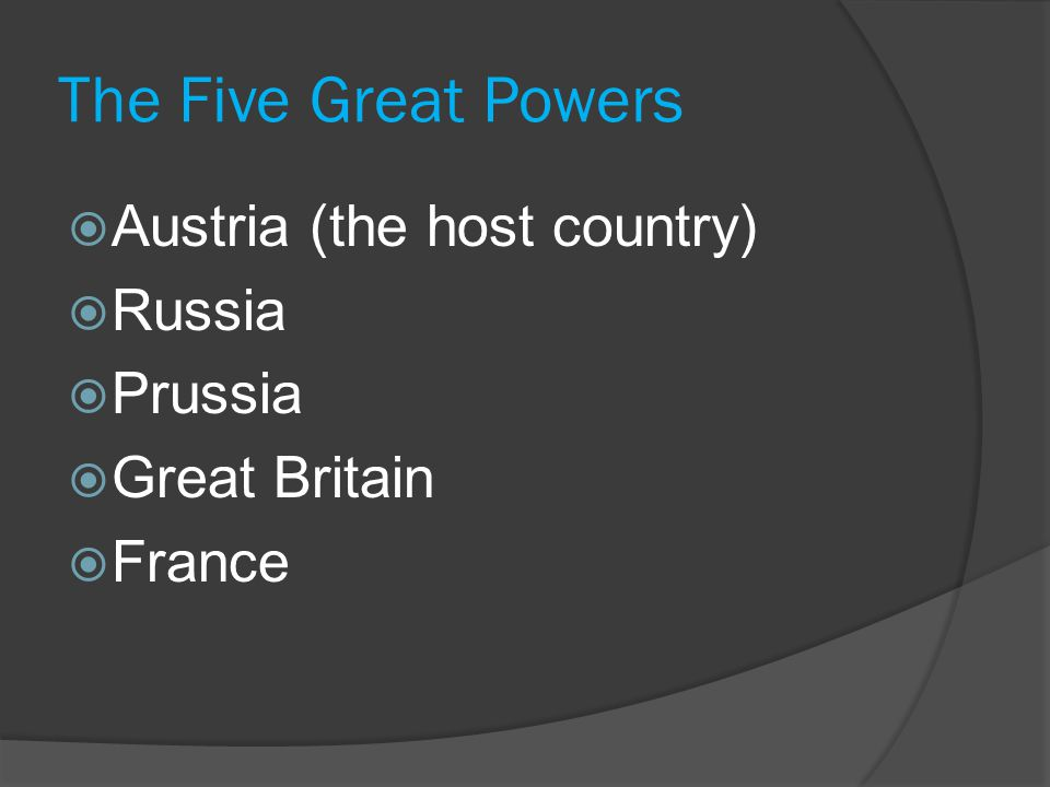 The Five Great Powers  Austria (the host country)  Russia  Prussia  Great Britain  France