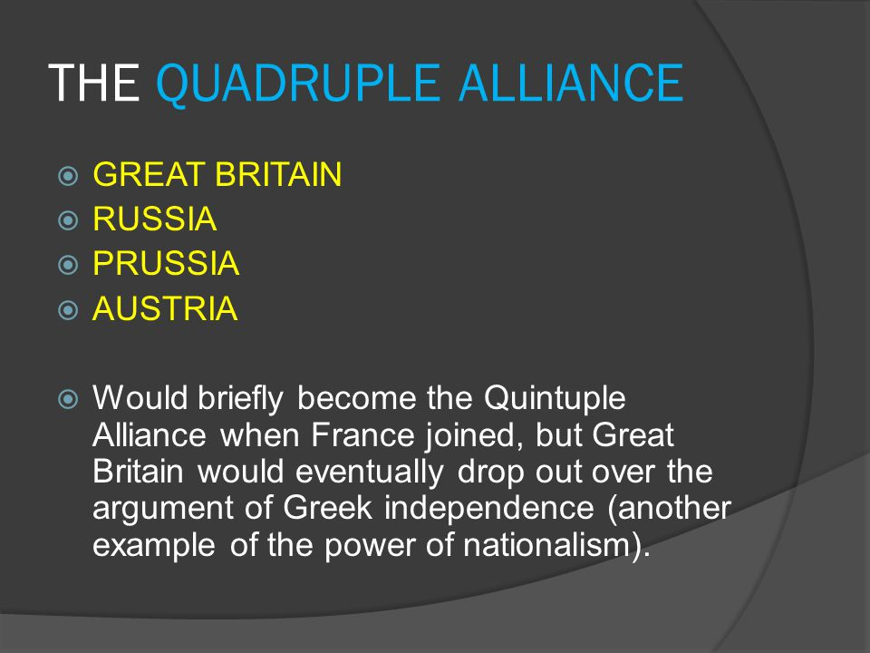 THE QUADRUPLE ALLIANCE  GREAT BRITAIN  RUSSIA  PRUSSIA  AUSTRIA  Would briefly become the Quintuple Alliance when France joined, but Great Britai