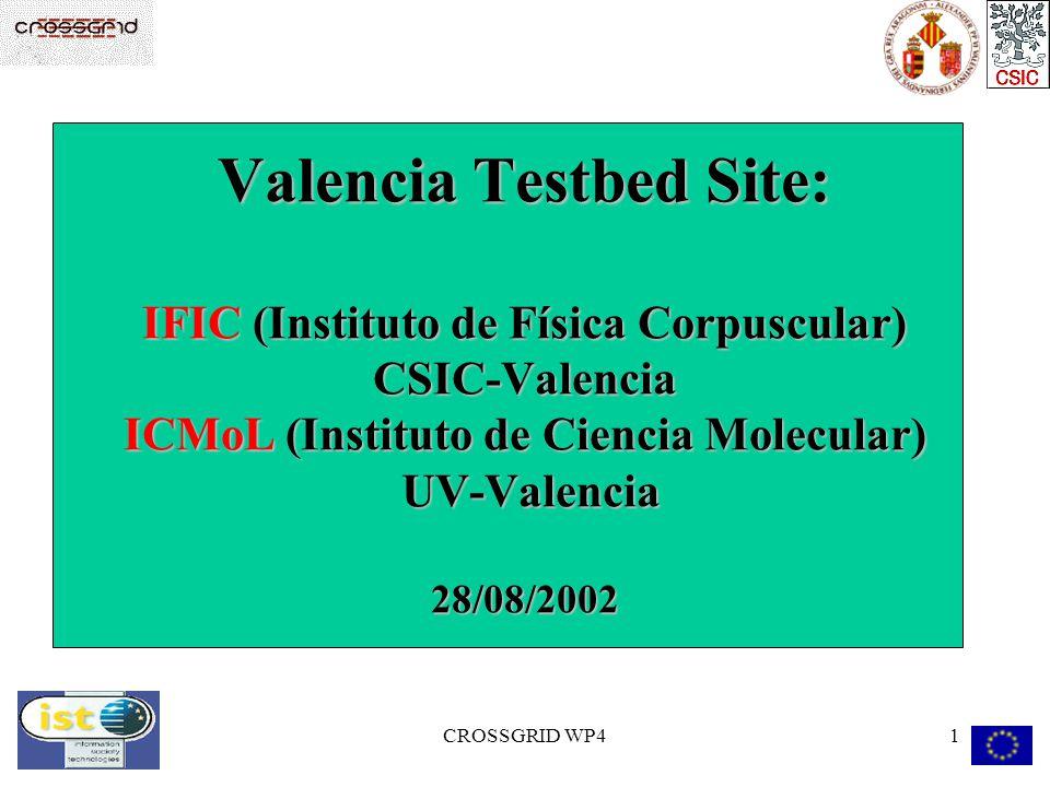 CROSSGRID WP41 Valencia Testbed Site: IFIC (Instituto de Física Corpuscular) CSIC-Valencia ICMoL (Instituto de Ciencia Molecular) UV-Valencia 28/08/2002