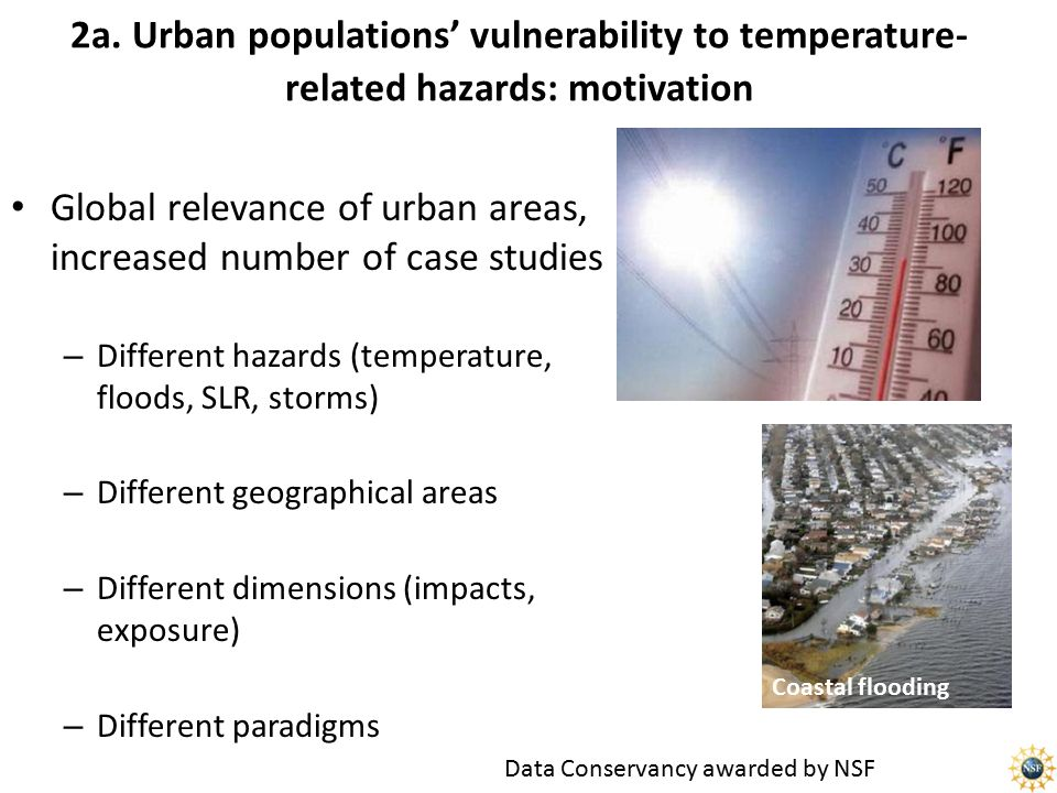 2a. Urban populations' vulnerability to temperature- related hazards: motivation Global relevance of urban areas, increased number of case studies – D