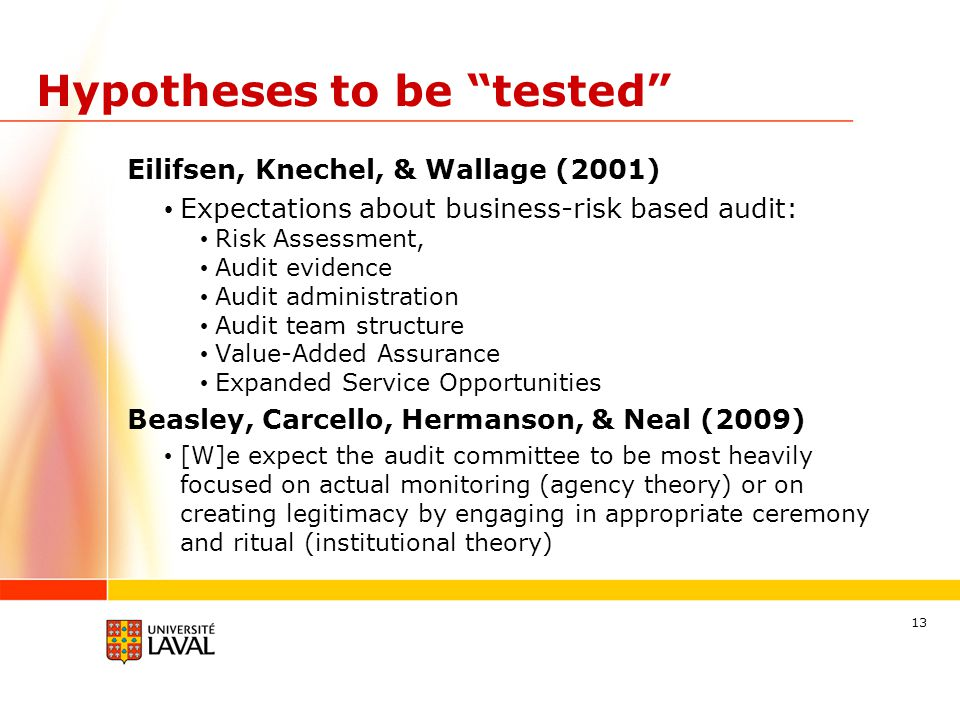 "Hypotheses to be ""tested"" Eilifsen, Knechel, & Wallage (2001) Expectations about business-risk based audit: Risk Assessment, Audit evidence Audit admi"