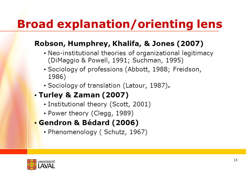 Broad explanation/orienting lens Robson, Humphrey, Khalifa, & Jones (2007) Neo-institutional theories of organizational legitimacy (DiMaggio & Powell, 1991; Suchman, 1995) Sociology of professions (Abbott, 1988; Freidson, 1986) Sociology of translation (Latour, 1987).