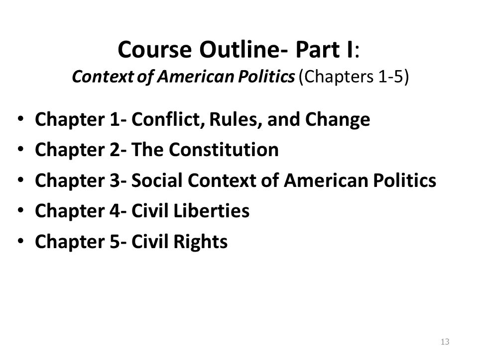 Course Outline- Part I: Context of American Politics (Chapters 1-5) Chapter 1- Conflict, Rules, and Change Chapter 2- The Constitution Chapter 3- Social Context of American Politics Chapter 4- Civil Liberties Chapter 5- Civil Rights 13