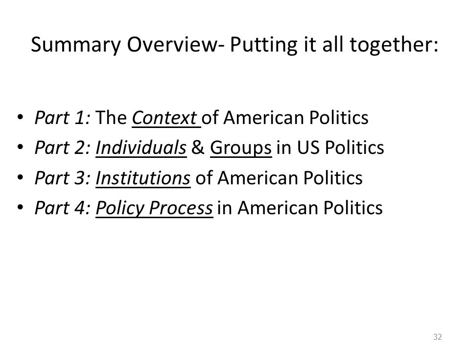 Summary Overview- Putting it all together: Part 1: The Context of American Politics Part 2: Individuals & Groups in US Politics Part 3: Institutions of American Politics Part 4: Policy Process in American Politics 32