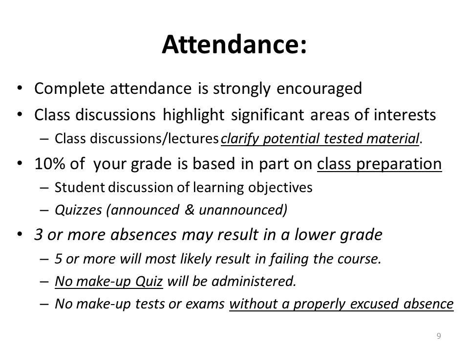 Attendance: Complete attendance is strongly encouraged Class discussions highlight significant areas of interests – Class discussions/lectures clarify potential tested material.