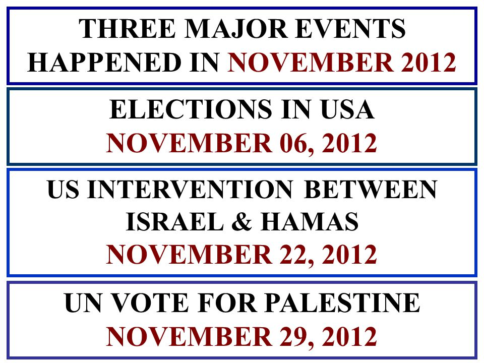 THREE MAJOR EVENTS HAPPENED IN NOVEMBER 2012 ELECTIONS IN USA NOVEMBER 06, 2012 US INTERVENTION BETWEEN ISRAEL & HAMAS NOVEMBER 22, 2012 UN VOTE FOR PALESTINE NOVEMBER 29, 2012