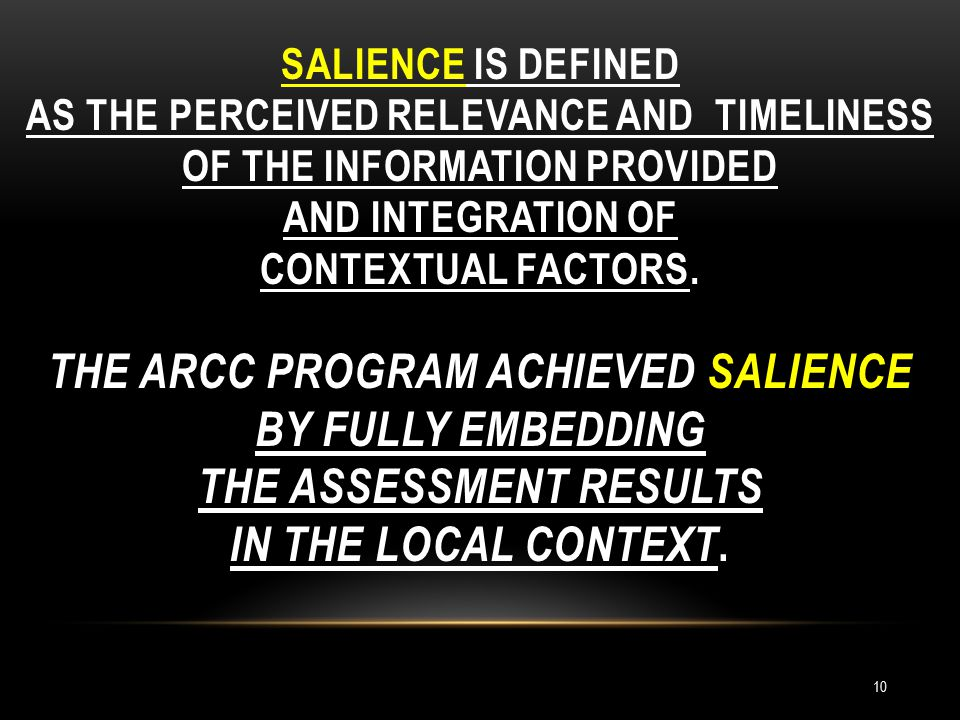 SALIENCE IS DEFINED AS THE PERCEIVED RELEVANCE AND TIMELINESS OF THE INFORMATION PROVIDED AND INTEGRATION OF CONTEXTUAL FACTORS.