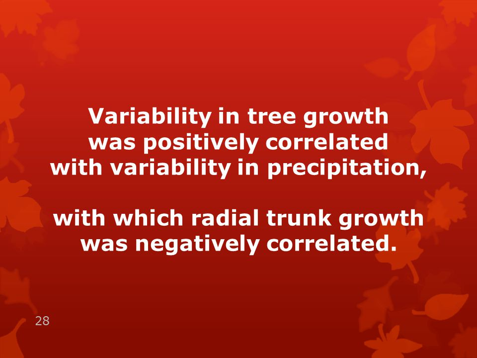 Variability in tree growth was positively correlated with variability in precipitation, with which radial trunk growth was negatively correlated.
