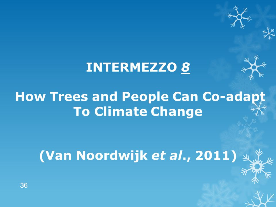 INTERMEZZO 8 How Trees and People Can Co-adapt To Climate Change (Van Noordwijk et al., 2011) 36