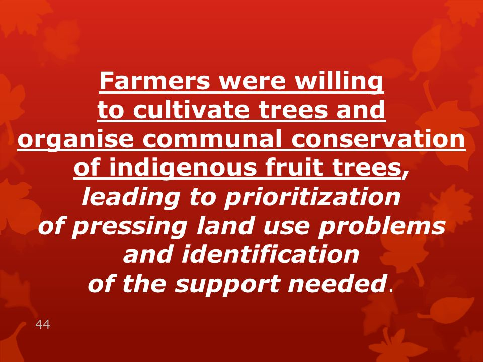 Farmers were willing to cultivate trees and organise communal conservation of indigenous fruit trees, leading to prioritization of pressing land use problems and identification of the support needed.