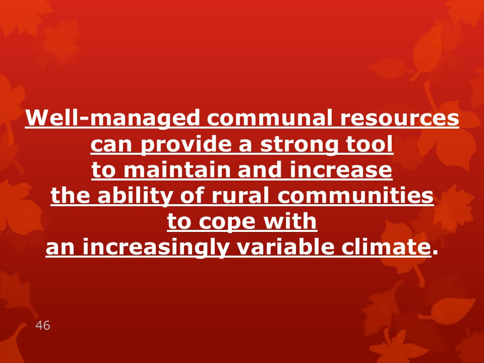 Well-managed communal resources can provide a strong tool to maintain and increase the ability of rural communities to cope with an increasingly variable climate.