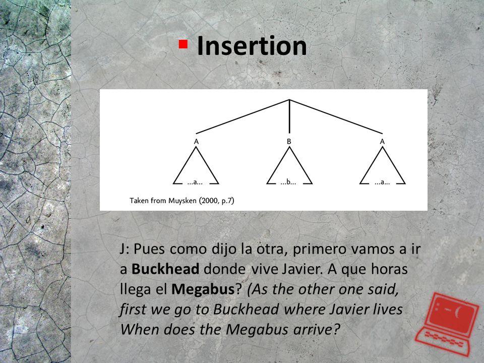  Insertion J: Pues como dijo la otra, primero vamos a ir a Buckhead donde vive Javier. A que horas llega el Megabus? (As the other one said, first we
