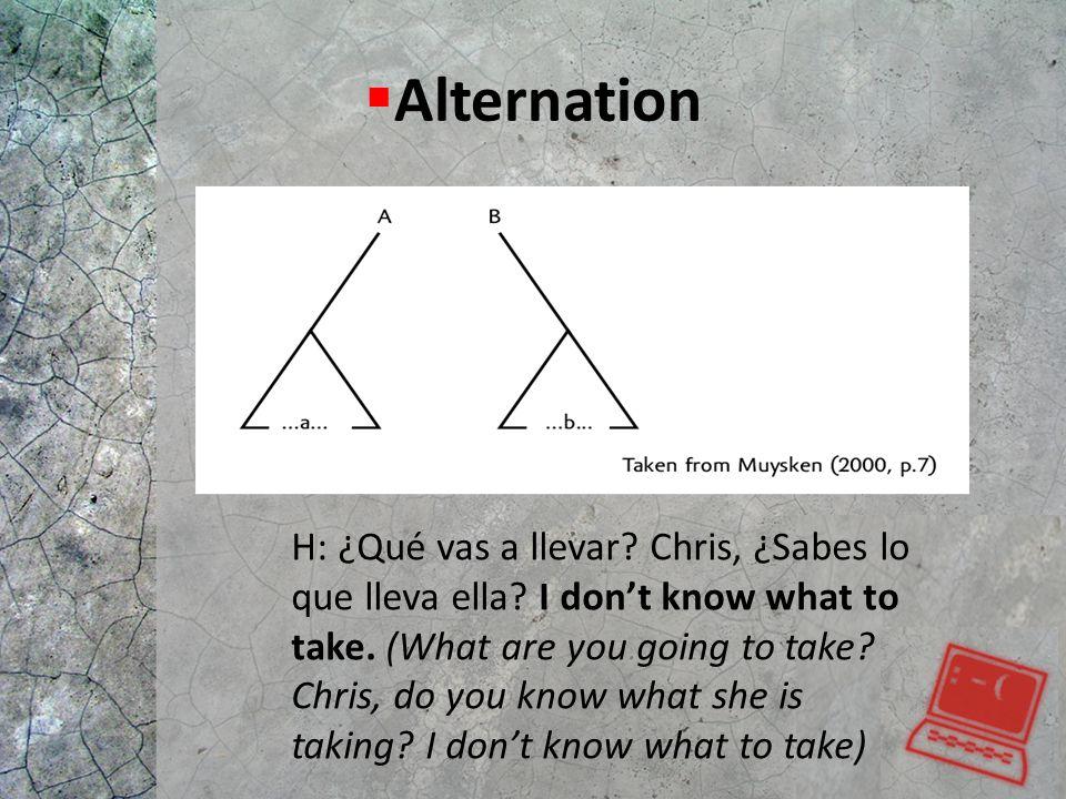  Alternation H: ¿Qué vas a llevar? Chris, ¿Sabes lo que lleva ella? I don't know what to take. (What are you going to take? Chris, do you know what s