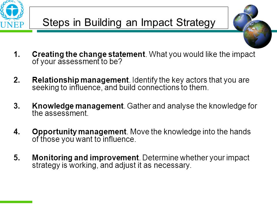 Steps in Building an Impact Strategy 1.Creating the change statement.